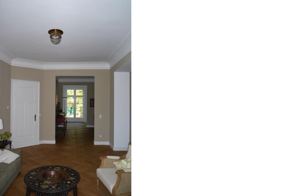 kern & toth - Ihr Architekturbüro bei Herrsching am Ammersee - Innenraumaufnahme mit Blick zum Garten Umbau und Sanierung einer denkmalgeschützten Villa am Wensauerplatz in der Villenkolonie München Pasing