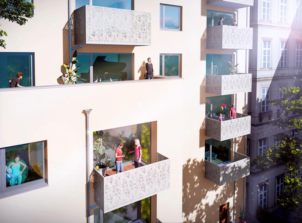 Neubau eines Mehrfamilienhause in Leipzig. Balkone mit Absturzsicherungen aus Fotoblech. Deckung Dach Prefa Prefalz. architekt seefeld, architekt herrsching, architekt starnberg, architekt gilching, architekturbüro seefeld, architekturbüro herrsching, architekturbüro starnberg, architekturbüro gilching, architektenbüro seefeld, architektenbüro herrsching, architektenbüro starnberg, architektenbüro gilching, architekt fürstenfeldbruck, architekten fürstenfeldbruck, architekturbüro fürstenfeldbruck