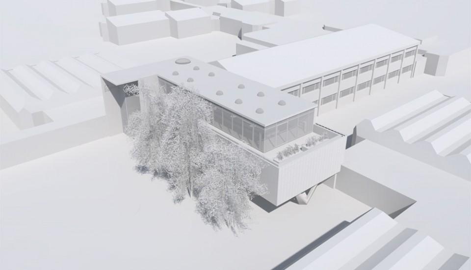 kern & toth - Ihr Architekturbüro aus München Perspektive der Geschätsstelle des BBIV im BIZ Wetzendorf