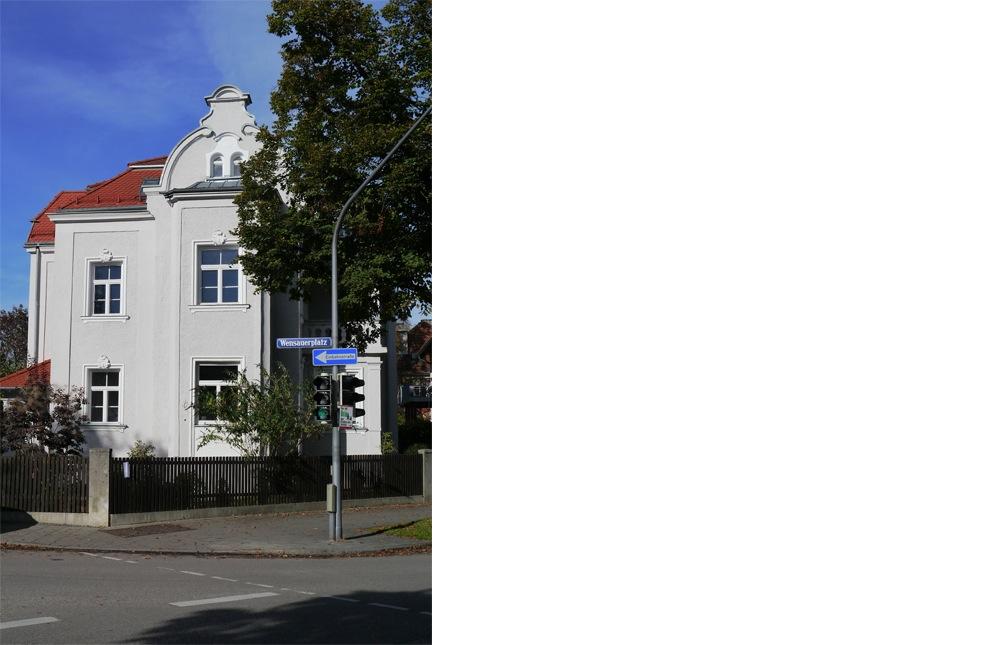kern & toth - Ihr Architekturbüro im Schloss Seefeld - Fassadenansicht Umbau und Sanierung einer denkmalgeschützten Villa am Wensauerplatz in der Villenkolonie München Pasing